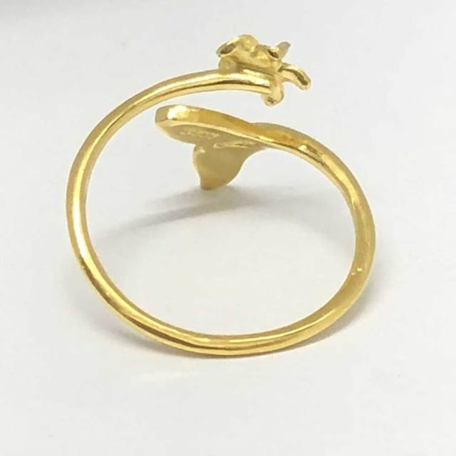ハワイアンジュエリー イエローシルバートゥーリング ホエールテール×プルメリア/ピンキーリング Toe Ring 足用 指輪