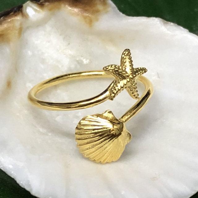 ハワイアンジュエリー イエローシルバートゥーリング スターフィッシュ×シェル/ピンキーリング アクセサリー 足用 指輪