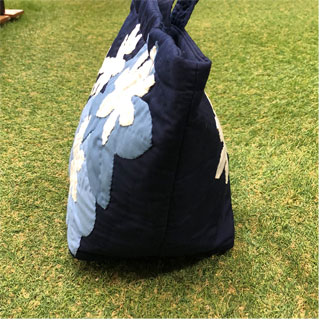 ハワイアンキルト バッグ ティアレ柄 ネイビー 人気 かわいい ギフト プレゼント 女の子 誕生日 ホワイトデー 記念日 プレゼント