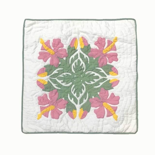 ハワイアンキルト 45cm×45cm用 クッションカバー ピンクハイビスカス柄 Hawaiian quilt インテリア ハワイアン雑貨
