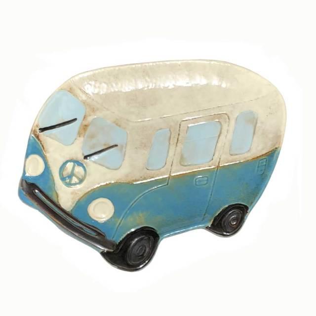 セラミックプレート ワーゲンバス ブルー インテリア雑貨 小物入れ