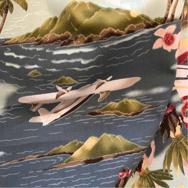 ハワイアン生地 レトロハワイ グレー