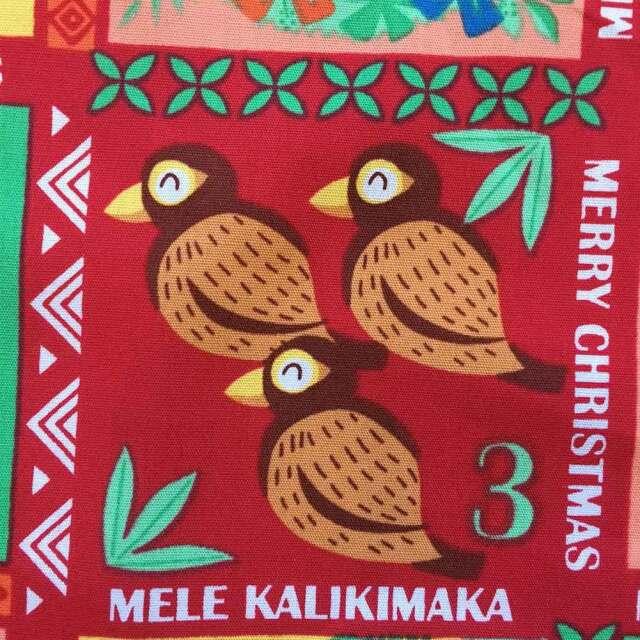 ハワイアン生地 クリスマス 風物詩 レッド