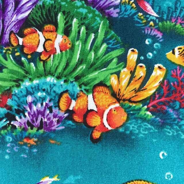 ハワイアン生地 海中 熱帯魚 イルカ タートル アクアブルー