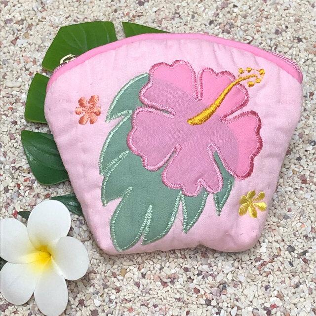 ハワイアンキルト Hawaiian Quilt ハイビスカスコインケース ピンク