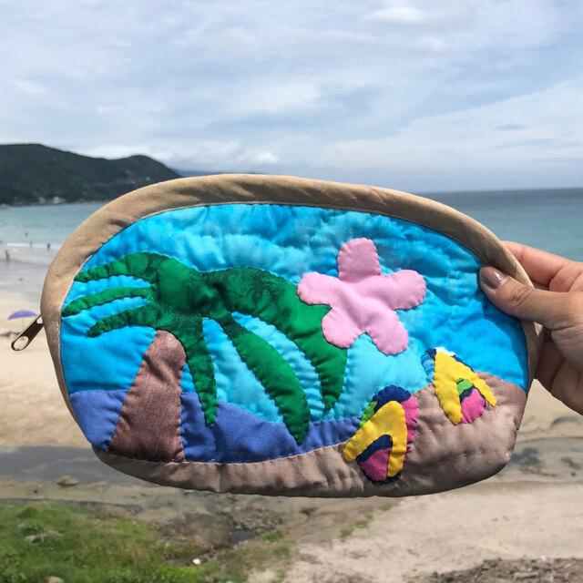 ハワイアンキルト ポーチ ブルー ヤシの木 ビーチサンダル