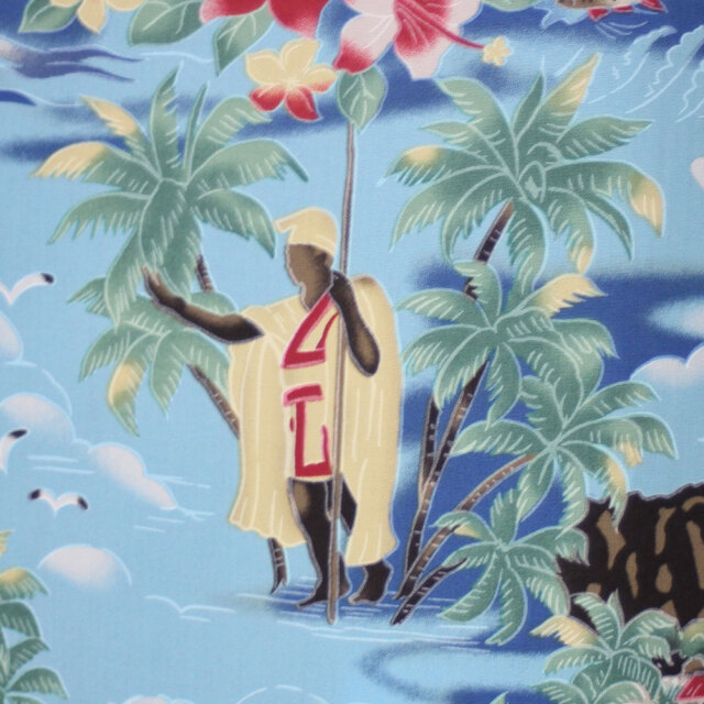 ハワイアン生地 ハワイ フラ ダイヤモンドヘッド ロイアルハワイアン 水色 コットン100% 綿