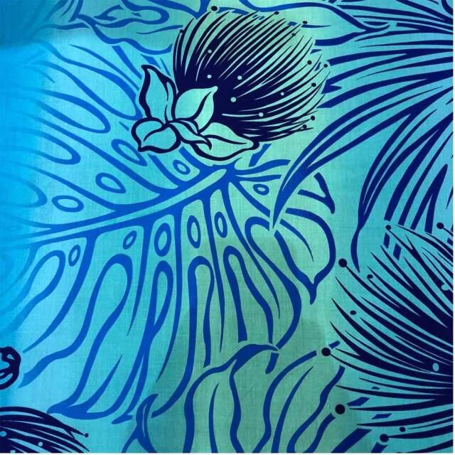 ハワイアン生地 モンステラ オヒア レフア ブルー