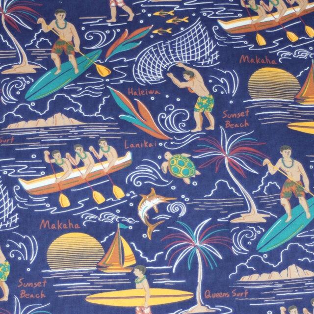 ハワイアン生地 ロイヤルブルー パドルボード柄 コットン100%