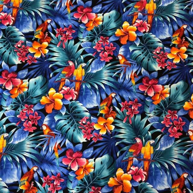 ハワイアン生地 インコ&ヤシの葉 コットン ブラック Parrot & Palm Leaves Cotton