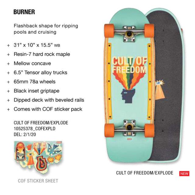スケートボード コンプリート 31インチ デッドクックス×グローブ バーナー カルトオブフリーダム 6.5インチ
