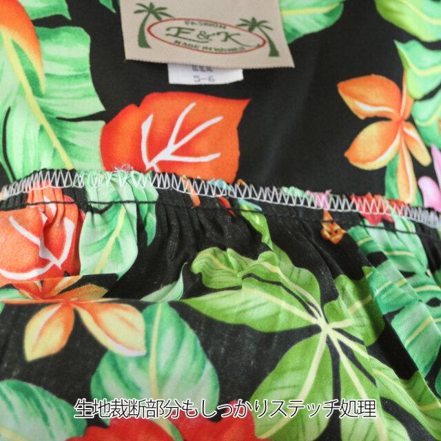 子供服ハワイアン キッズワンピース ブラック プルメリア ハイビスカス バードオブパラダイス