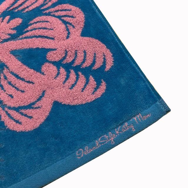 キャシーマム ハワイアンキルト柄 フェイスタオル 34×80cm レアレアシリーズ ココナッツ ブルー