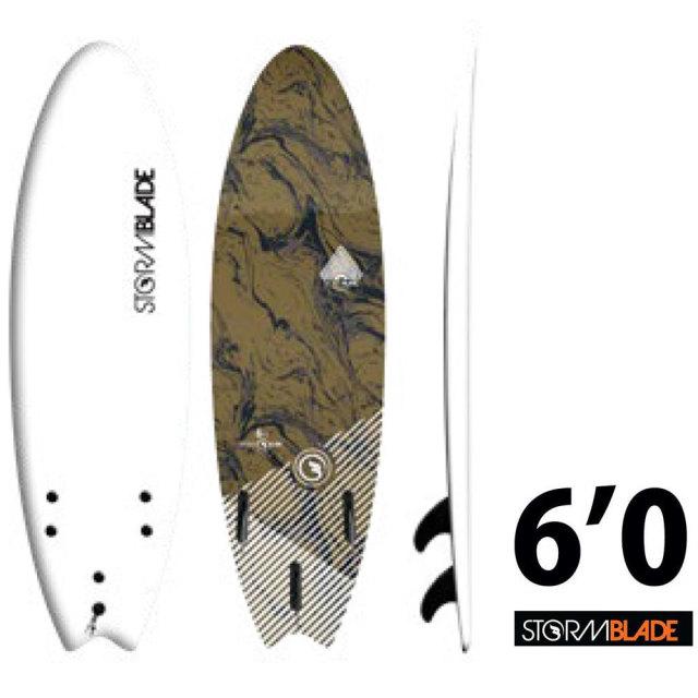 ソフトボード ストームブレード スワローテールサーフボード 6'0 STORM BLADE 6ft SWALLOW TAIL SURFBOARD WHITE BLACK MARBLE