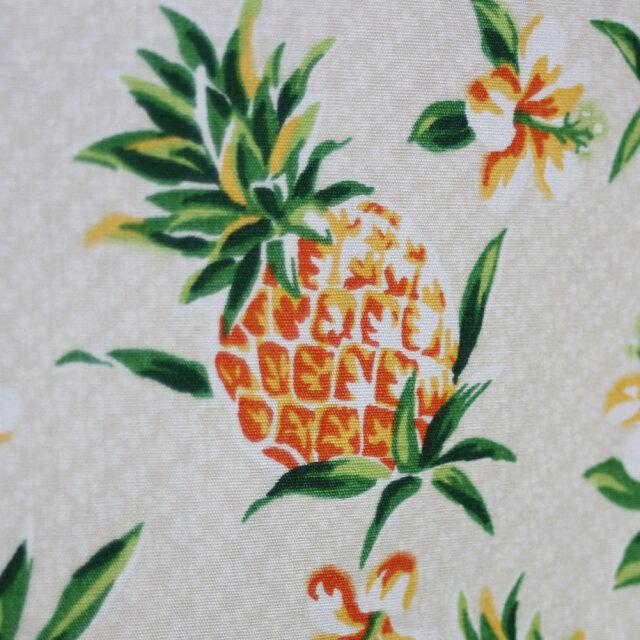 ハワイアン生地 パイナップル ベージュ コットン100%