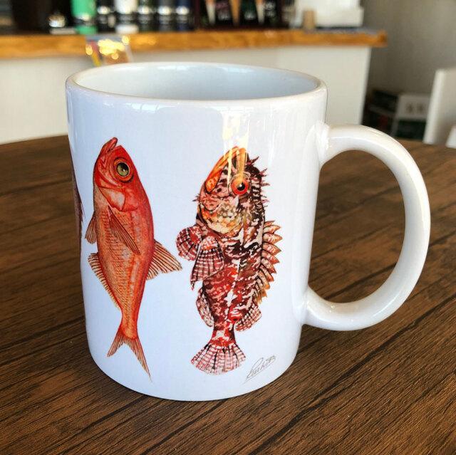 cicada 赤いお魚 マグカップ 大 ラッセル ウィルス