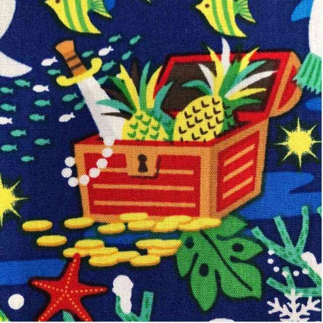 ハワイアン生地 クリスマス 人魚 海中 熱帯魚 ブルー 南国 トロピカル