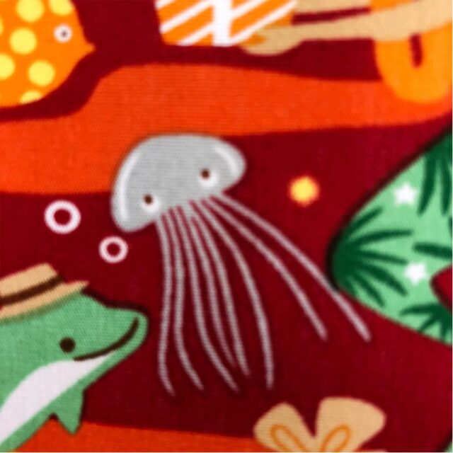 ハワイアン生地 クリスマス 人魚 海中 熱帯魚 レッド 南国 トロピカル