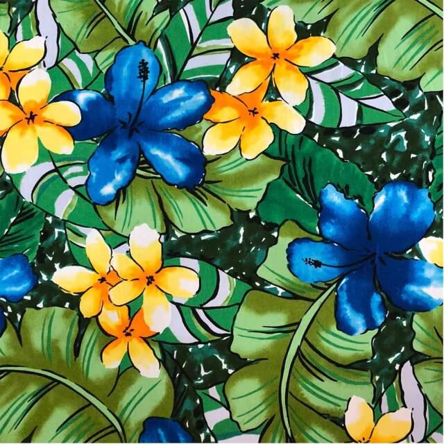 ハワイアン生地 ハイビスカス モンステラ ティアレ ブルー 南国 トロピカル フラワー パウスカート生地 綿 コットン100%