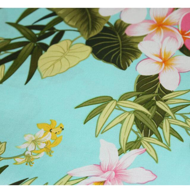 ハワイアン生地 ターコイズ フラワー 花々 コットン パウスカート カーテン ベットカバー