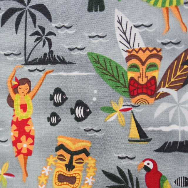 ハワイアン生地 グレー フラガールと楽しい仲間たち コットン パウスカート