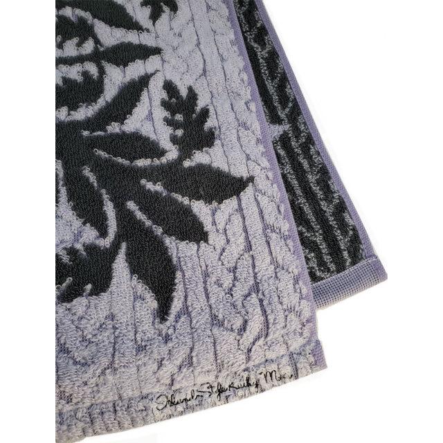キャシーマム フェイスタオル シェルジンジャー柄 パープル 34×80cm フト キッチンタオル 綿100% 無撚糸