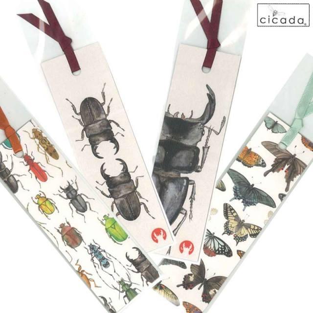 cicada 和紙しおり 昆虫 伊豆の自然/ブックマーク クワガタ 蝶