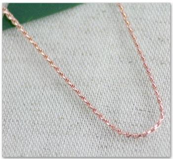 ハワイアンジュエリー カットフレンチロープチェーン(45cm)ピンクシルバー