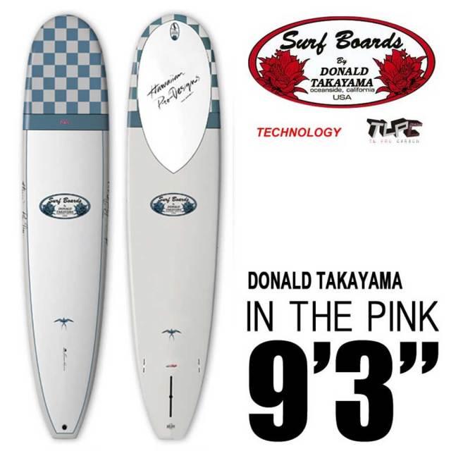 """ロングボード SURFTECH HAWAIIAN PRO DESIGNS ドナルドタカヤマ IN THE PINK 9'3"""" White/Blue"""