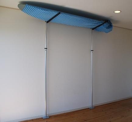 室内用サーフボードラック アルミポール・ツッパリ君ロング用セット( 固定平行アーム )/室内用サーフボードラック ロングボードラック サーフィン