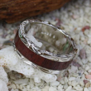 ハワイアンジュエリー コアウッドシルバーリング 幅太/スクロール 指輪