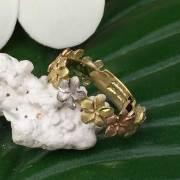 ハワイアンジュエリー 4mm 14Kゴールド 9プルメリアリング/指輪