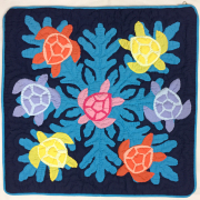 Hawaiian quilt ハワイアンキルト クッションカバー ホヌ柄/インテリア カバー マット ハワイアン雑貨