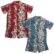 キッズ ハイビスカス柄アロハシャツパンツ上下セット/ハワイアン ハイビスカス キッズウェア ショートパンツ 子供用