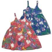 子供服ハワイアンムームー プルメリア×ハイビスカス柄キッズワンピース 5歳~6歳/女の子用ワンピース