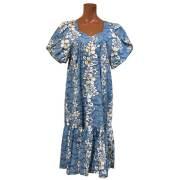 ハワイアンムームー ブルー/ロングドレス レディースウェア 女性用ウエア フラダンス
