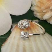 ハワイアンジュエリー シルバートゥーリングパイナップル×プルメリア/ピンキーリングアクセサリー 足用 指輪