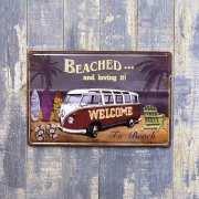アンティークメタルプレートS beached ブリキの看板 /サインプレート看板 スチールボード アメリカ雑貨