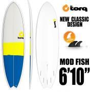 ショートボード torqサーフボードNEW  CLASSIC DESIGN 6'10 Fish  FUTURE  5プラグ 3フィン付き