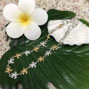ハワイアンジュエリー シルバーブレスレット「ホヌ」シルバー×イエローシルバー/ハワイアンアクセサリー