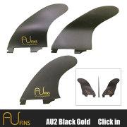 AU FIN エーユーフィン AU LR Thruster グラスフィン ブラック/ゴールド Full Base フューチャータイプ Mサイズ  3フィン