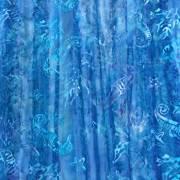 ハワイアン生地 タイダイブルー シーホース×コーラル×スターフィッシュ GA-18-147-BLUE/タツノオトシゴ サンゴ