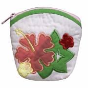 ハワイアンキルト Hawaiian Quilt  ハイビスカスコインケース ライトピンク