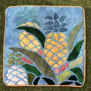 ハワイアンキルト クッションカバー46cm×46cm ブルータイダイ パイナップル/ インテリア Hawaiianquilt ハワイアン雑貨
