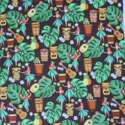 ハワイアン生地 ロイヤルブラウン フラ コットン  3mまでゆうパケット対応  パウスカート生地 カーテン生地 ベットカバー生地 おしゃれ かわいい おススメ コットン100%