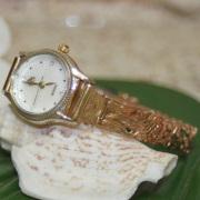 ハワイアンジュエリー ピンクシルバーブレスウォッチ プルメリアハイビスカス アンスリウム モンステラ 17.5cm アクセサリー Hawaiianjewely ハワジュウォッチ 腕時計