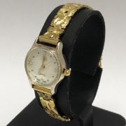 ハワイアンジュエリー イエローシルバーブレスウォッチ プルメリアハイビスカス アンスリウム モンステラ 17.5cm アクセサリー Hawaiianjewely ハワジュウォッチ 腕時計