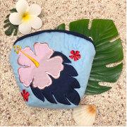 ハワイアンキルト Hawaiian Quilt ハイビスカスコインケース ブルー インテリア小物 財布 小銭入れ 小物入れ がま口