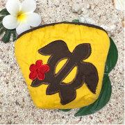 ハワイアンキルト Hawaiian Quilt ホヌ柄コインケース イエロー 財布 小銭入れ 小物入れ がま口