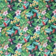 ハワイアン生地 ネイビー トロピカリフラワー×リーフ柄 手芸用布 ポリエステル×コットン 綿